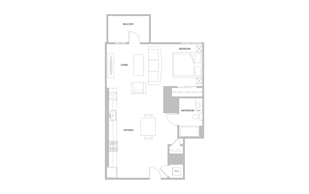 S1 - Studio floorplan layout with 1 bath and 487 to 567 square feet. (Version 2)