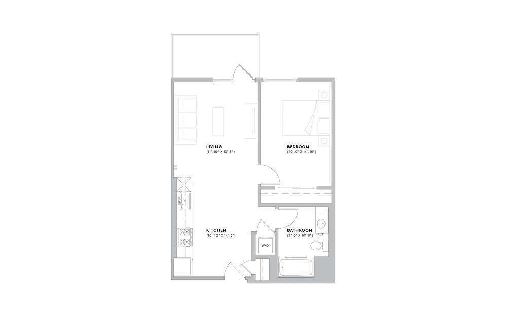 A1 - 1 bedroom floorplan layout with 1 bath and 662 to 746 square feet.