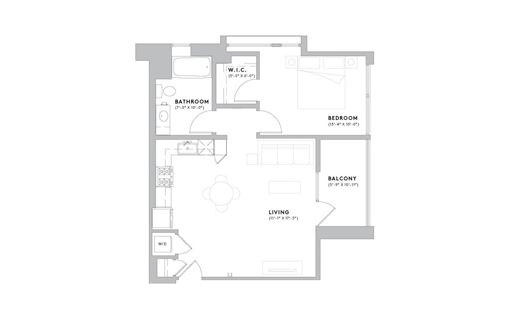 A2 - 1 bedroom floorplan layout with 1 bath and 720 to 746 square feet.