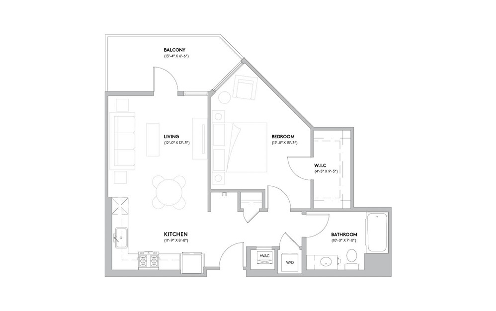 A3 - 1 bedroom floorplan layout with 1 bath and 698 to 716 square feet.