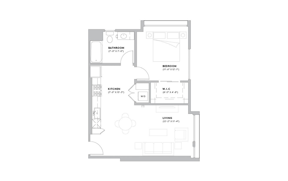 A4 - 1 bedroom floorplan layout with 1 bath and 671 to 821 square feet.