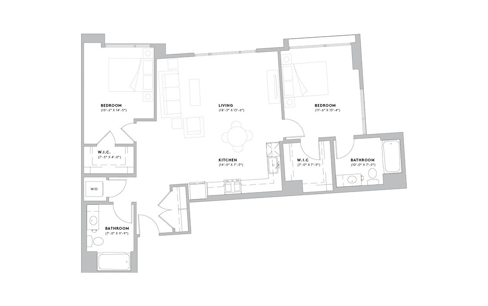 B1 - 2 bedroom floorplan layout with 2 baths and 1152 to 1168 square feet.
