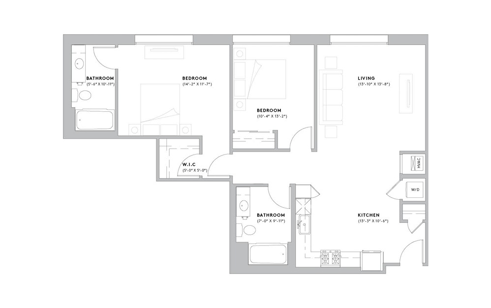 B5 - 2 bedroom floorplan layout with 2 baths and 936 to 1095 square feet.