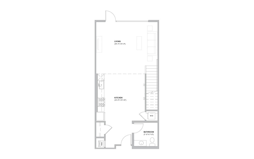 L2 - 1 bedroom floorplan layout with 1.5 bath and 1059 square feet. (Floor 1)