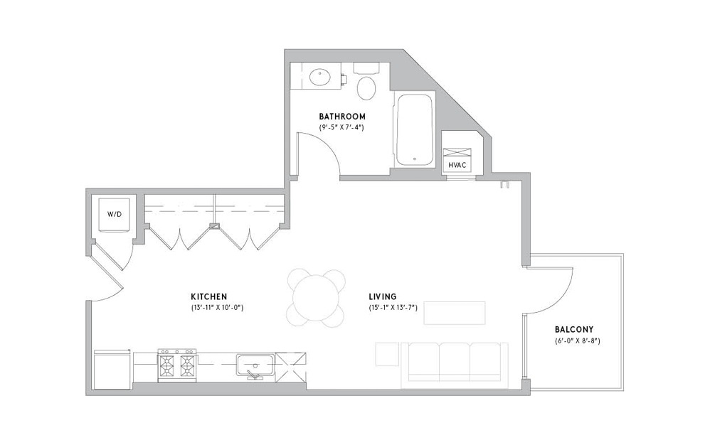 S1 - Studio floorplan layout with 1 bath and 567 square feet.
