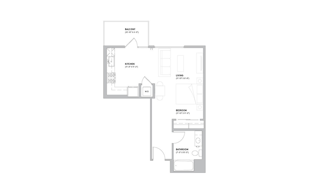 S3 - Studio floorplan layout with 1 bath and 546 to 560 square feet.