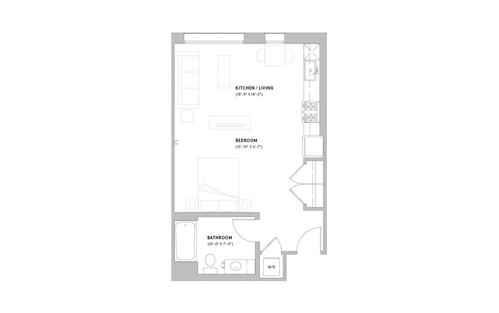 S4 - Studio floorplan layout with 1 bath and 537 to 571 square feet.